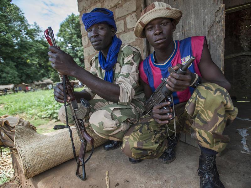 Members of the Seleka rebel militia in Kaga Bandoro