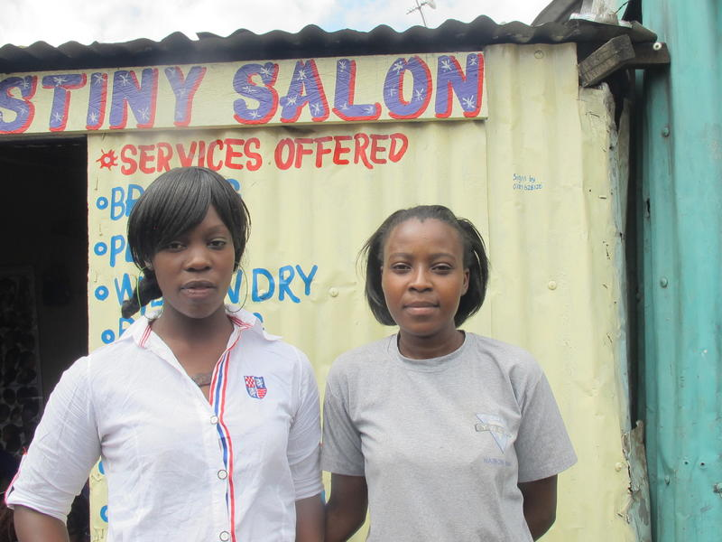 Susan and Mariam outside of Nairobi salon