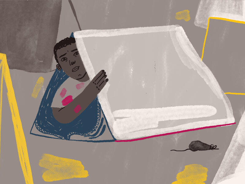 Illustration by Jocie Juritz about the mental health crisis facing refugees on the Greek islands