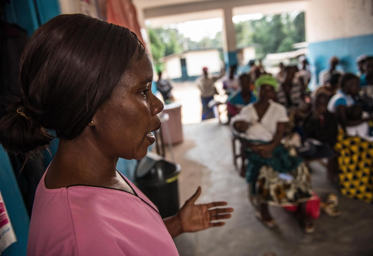 Gborlu receives support for her baby from trained health workers free of charge at Konia Health Centre.