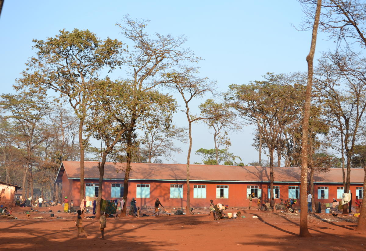 This school was recently vacated and families were moved to tents so that classes can resume.
