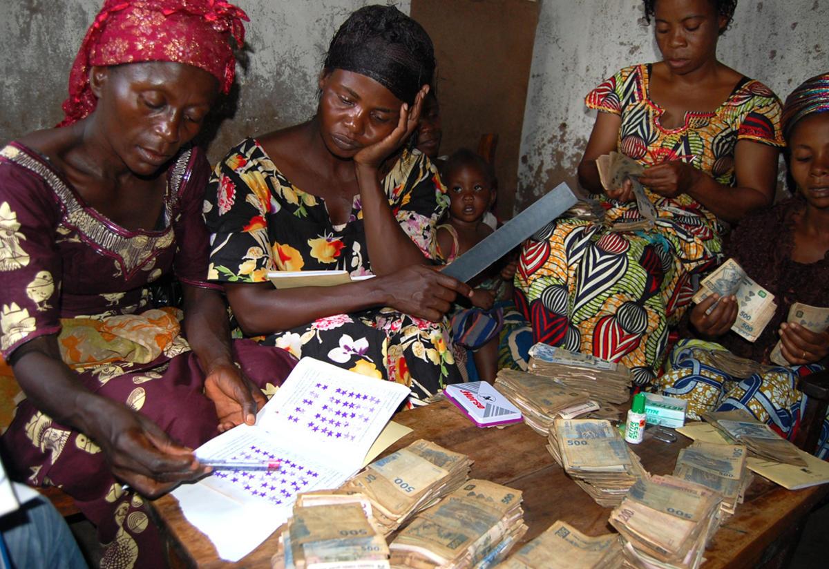 Women in South Kivu at a village savings group