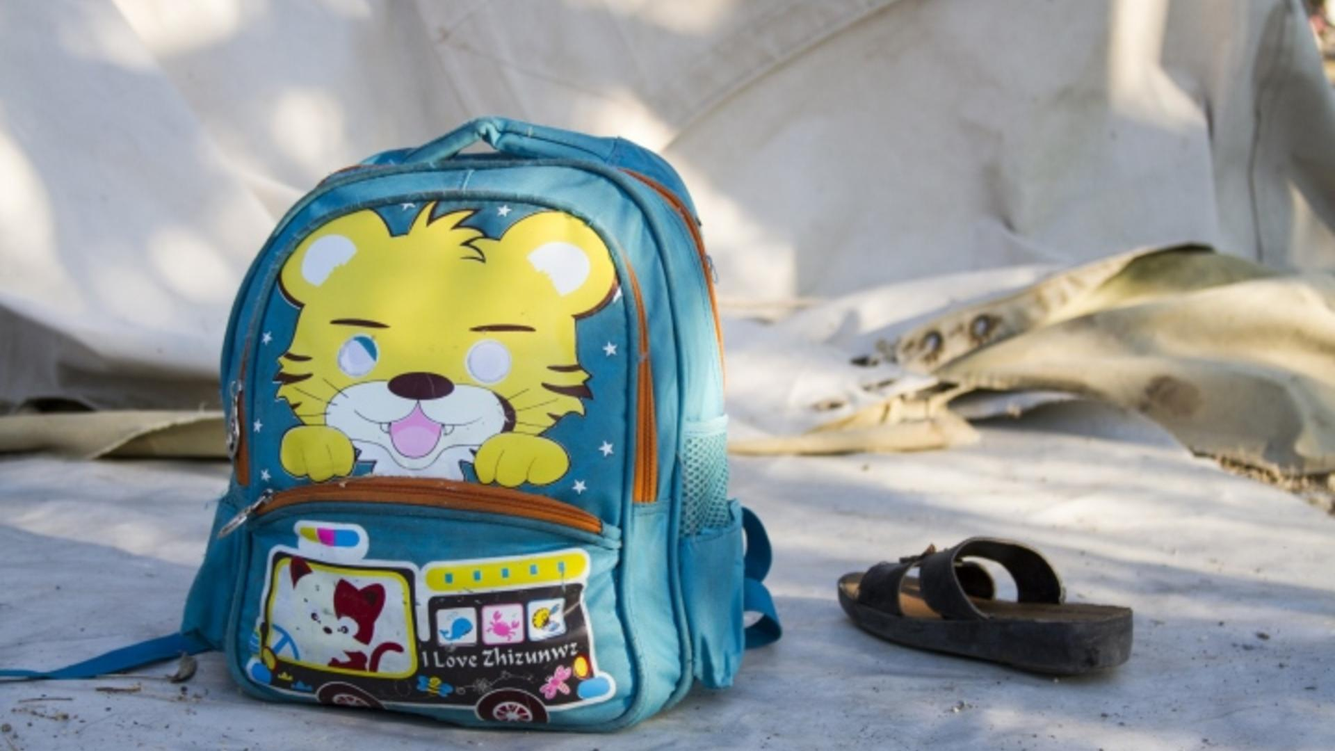 Backpack of a child refugee