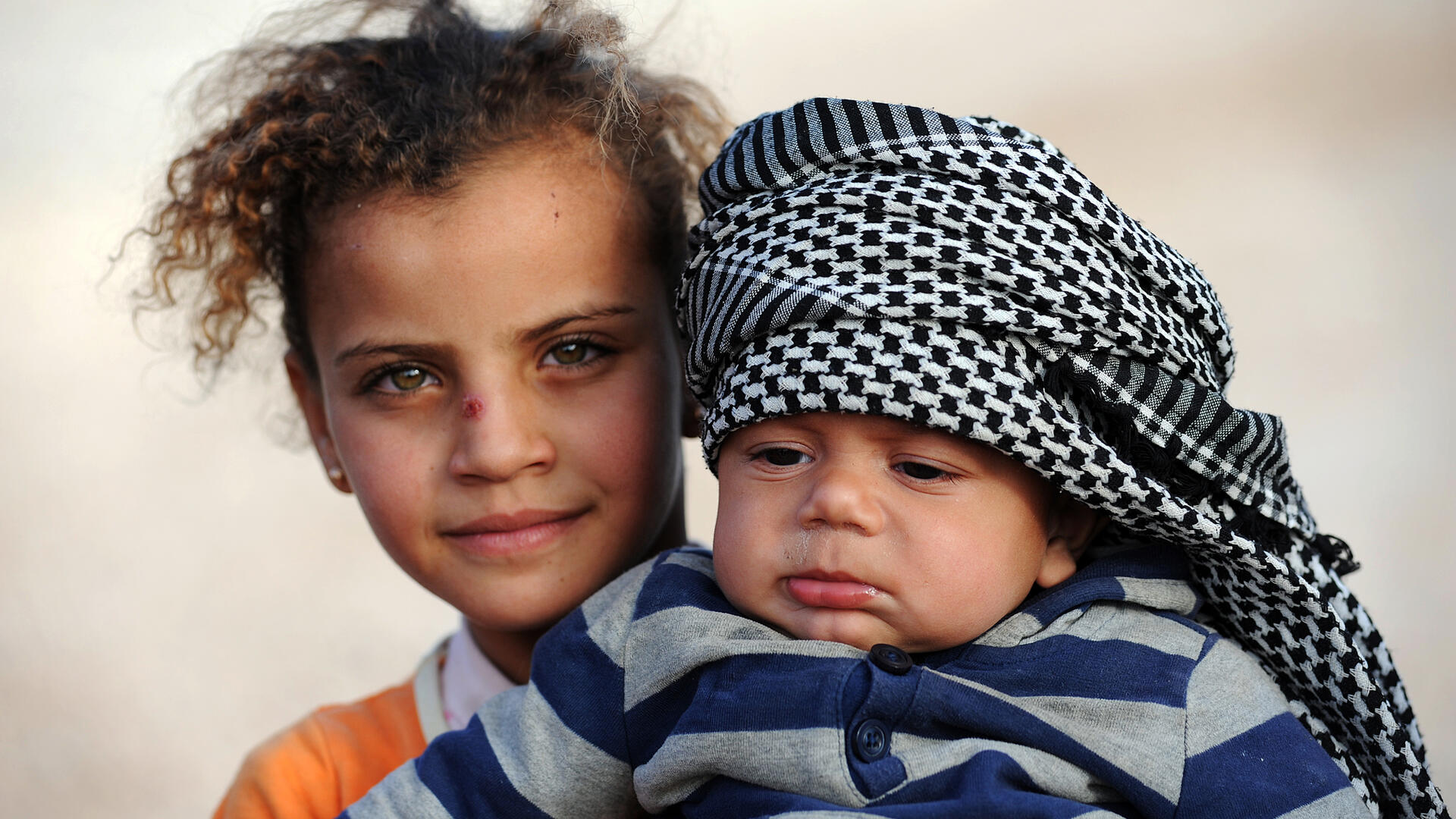 Two Syrian refugee children in Zaatari camp, northern Jordan.