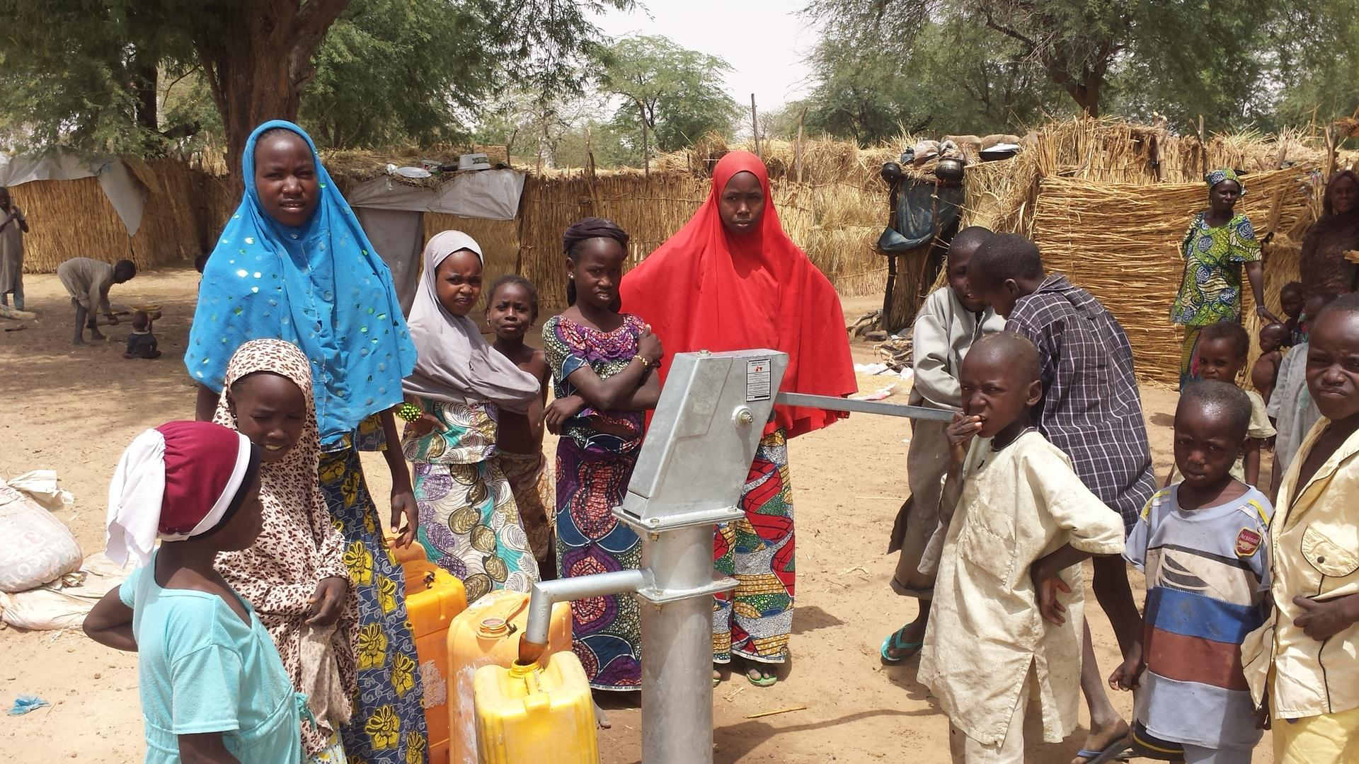 Children collect water at a tap in the Diffa region of Niger, which has seen a large influx of refugees from Nigeria.