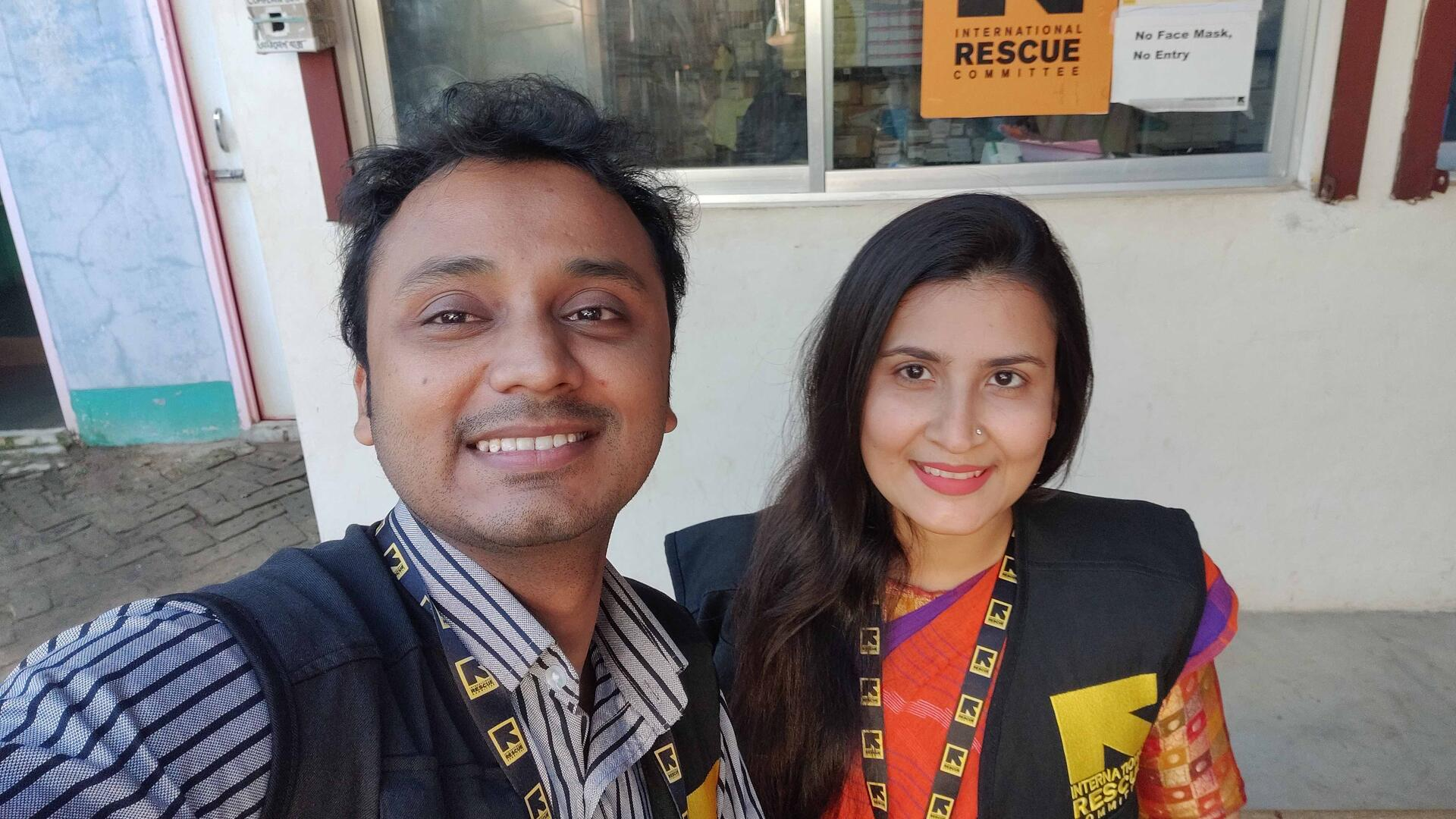 Selfie of Dr Muminul Haque Munna and Dr Ramima Afrin Pinky who work for the IRC in Bangladesh