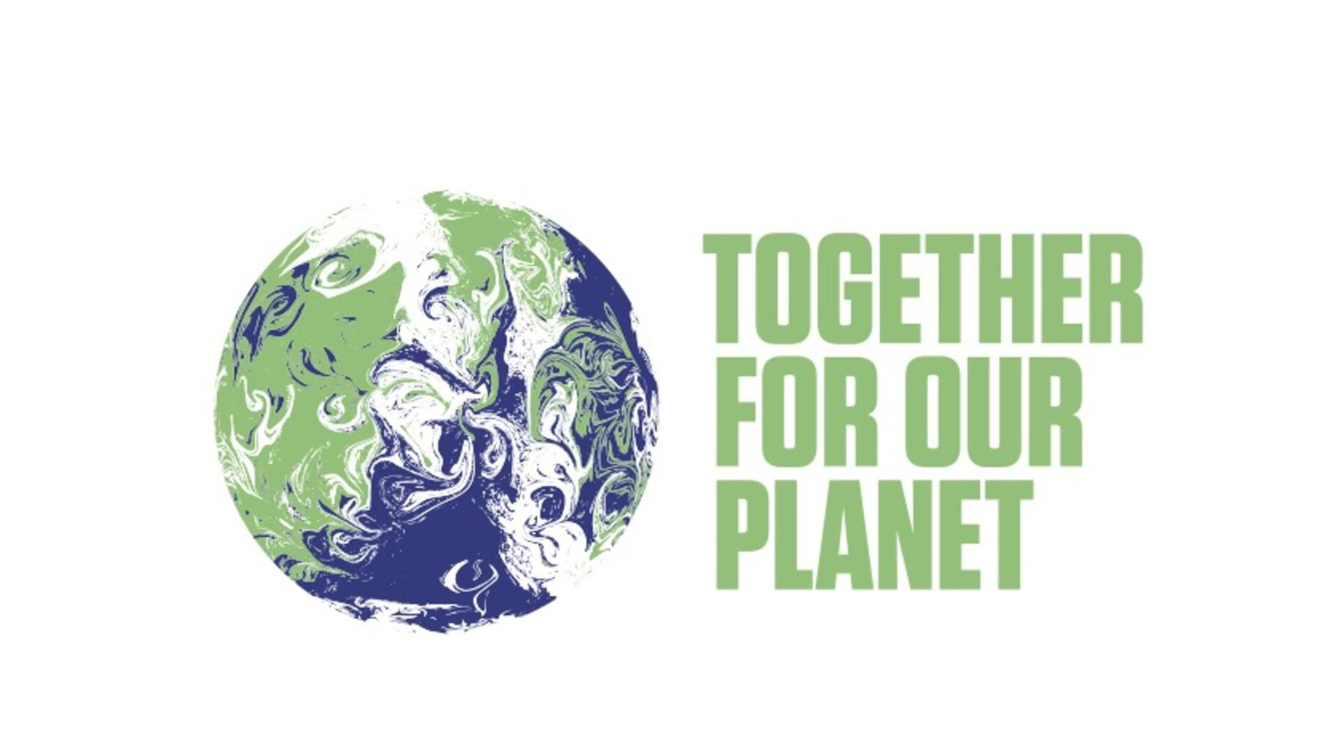 The COP logo with an image of a globe and text that says Together For Our Planet