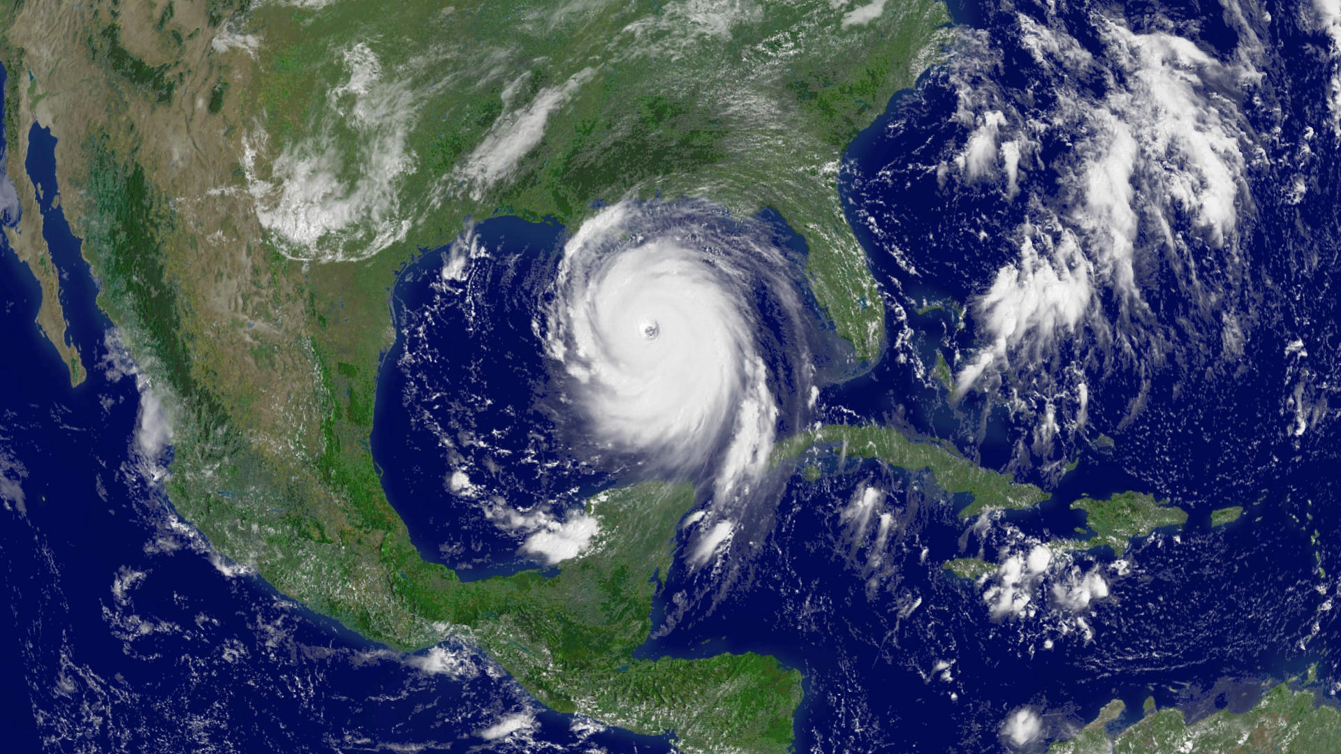 Satellite image of Hurrican Katrina making landfall in 2005